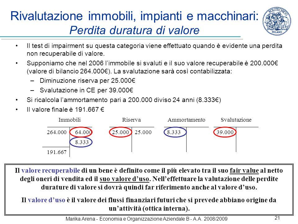 Marika Arena - Economia e Organizzazione Aziendale B - A.A. 2008/2009 21 Rivalutazione immobili, impianti e macchinari: Perdita duratura di valore Il