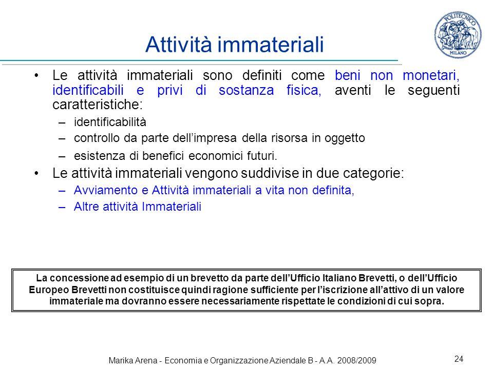 Marika Arena - Economia e Organizzazione Aziendale B - A.A. 2008/2009 24 Attività immateriali Le attività immateriali sono definiti come beni non mone