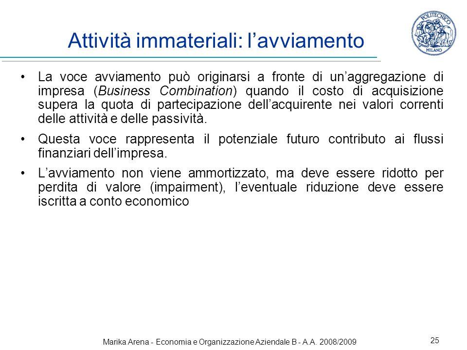 Marika Arena - Economia e Organizzazione Aziendale B - A.A. 2008/2009 25 Attività immateriali: lavviamento La voce avviamento può originarsi a fronte