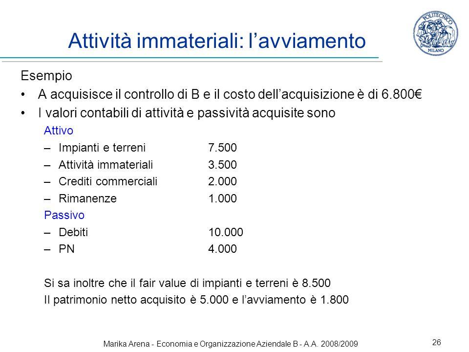 Marika Arena - Economia e Organizzazione Aziendale B - A.A. 2008/2009 26 Attività immateriali: lavviamento Esempio A acquisisce il controllo di B e il