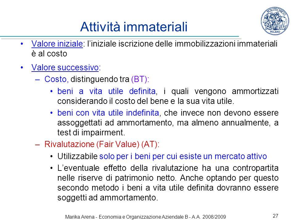 Marika Arena - Economia e Organizzazione Aziendale B - A.A. 2008/2009 27 Attività immateriali Valore iniziale: liniziale iscrizione delle immobilizzaz
