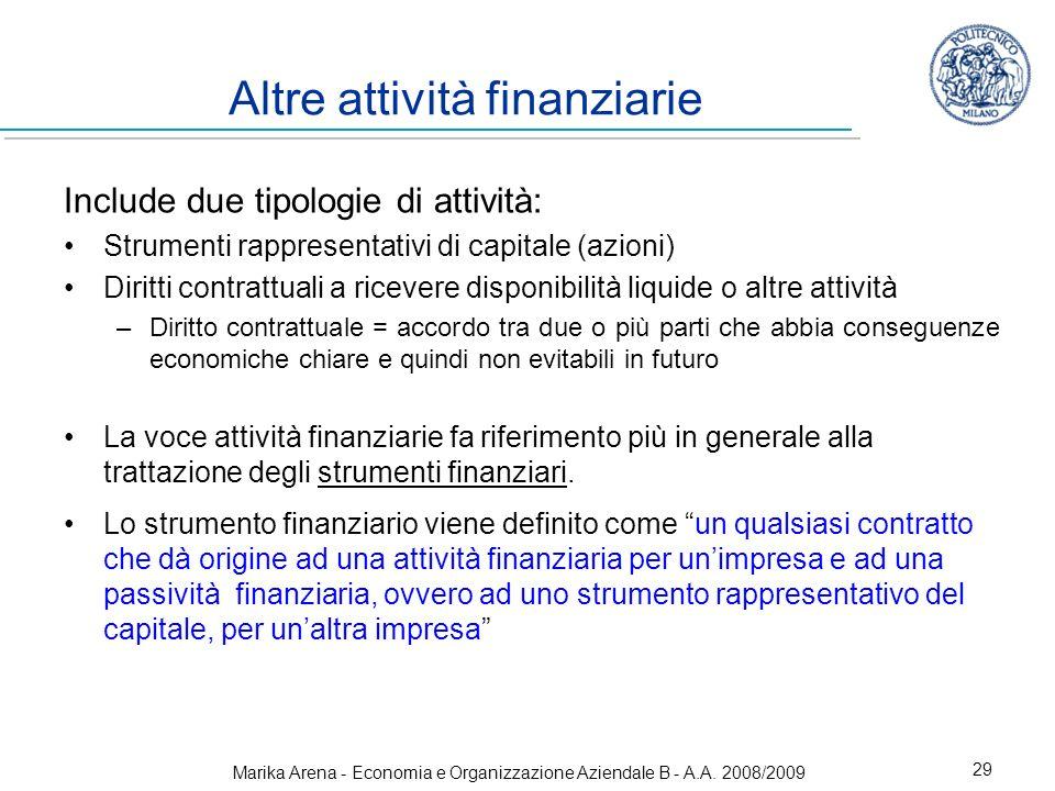 Marika Arena - Economia e Organizzazione Aziendale B - A.A. 2008/2009 29 Altre attività finanziarie Include due tipologie di attività: Strumenti rappr