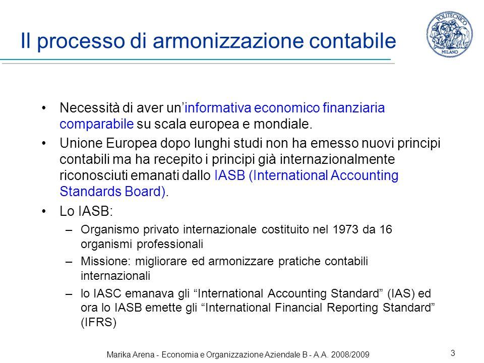 Marika Arena - Economia e Organizzazione Aziendale B - A.A. 2008/2009 3 Il processo di armonizzazione contabile Necessità di aver uninformativa econom