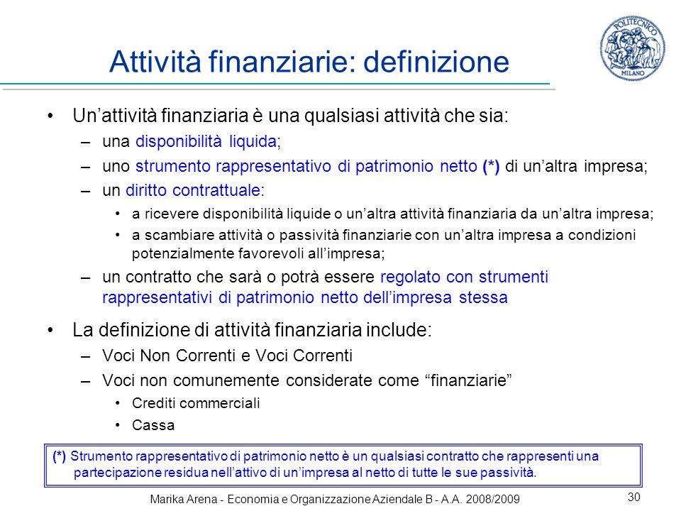 Marika Arena - Economia e Organizzazione Aziendale B - A.A. 2008/2009 30 Attività finanziarie: definizione Unattività finanziaria è una qualsiasi atti