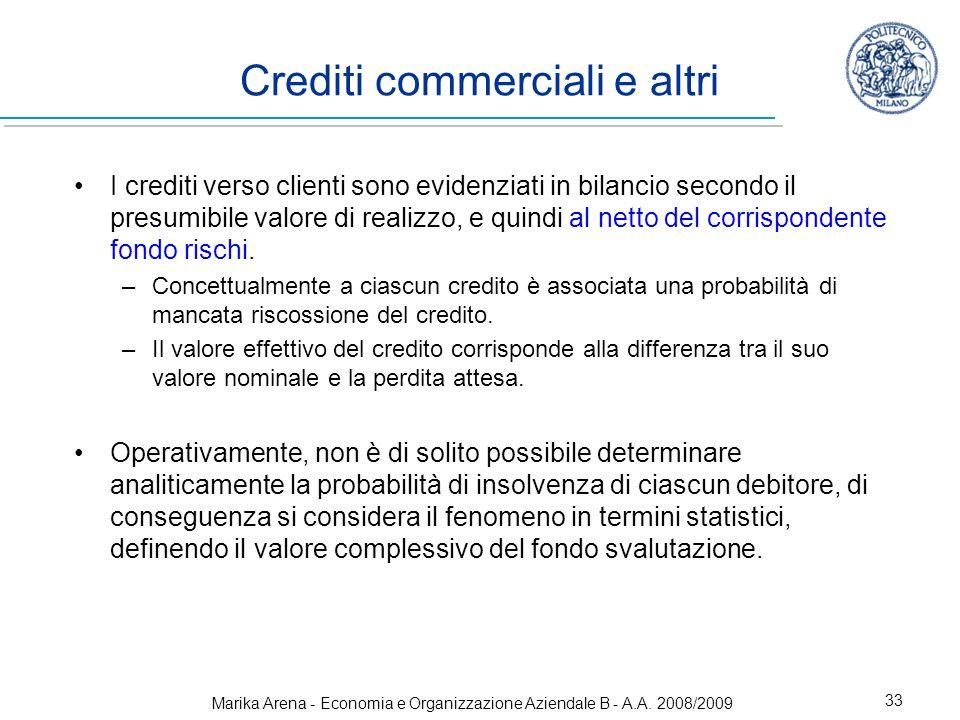 Marika Arena - Economia e Organizzazione Aziendale B - A.A. 2008/2009 33 Crediti commerciali e altri I crediti verso clienti sono evidenziati in bilan