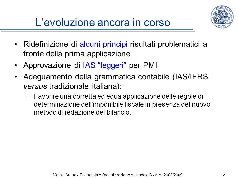 Marika Arena - Economia e Organizzazione Aziendale B - A.A. 2008/2009 5 Levoluzione ancora in corso Ridefinizione di alcuni principi risultati problem