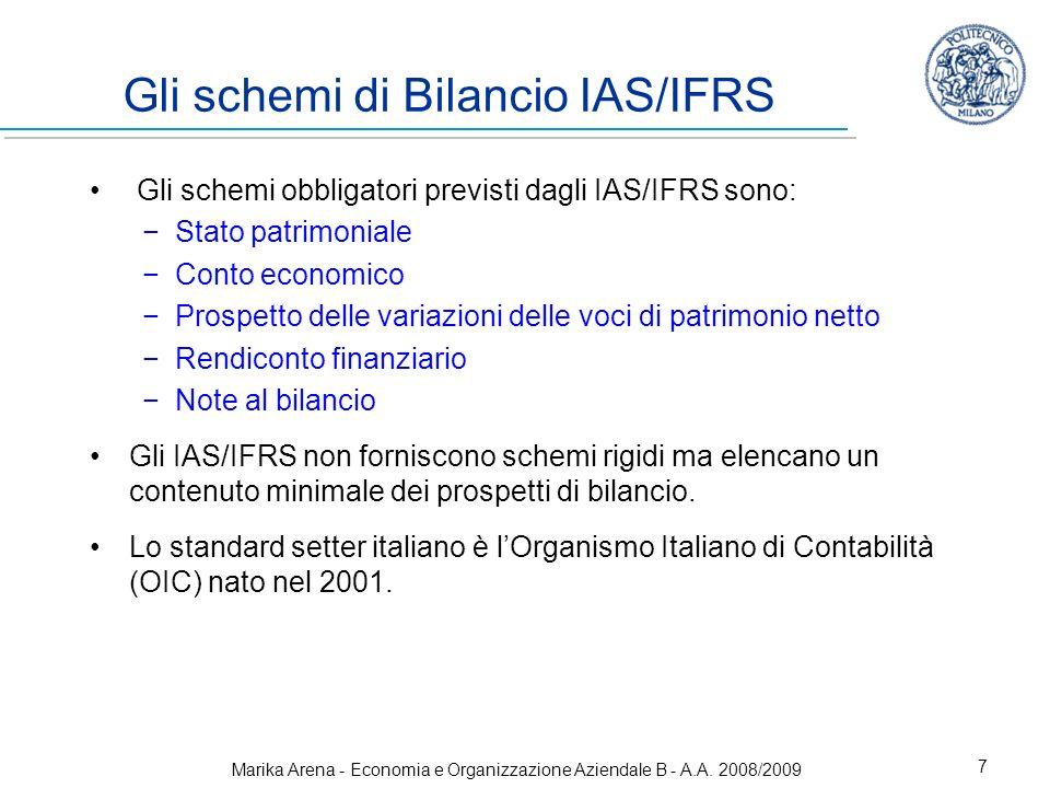 Marika Arena - Economia e Organizzazione Aziendale B - A.A. 2008/2009 7 Gli schemi di Bilancio IAS/IFRS Gli schemi obbligatori previsti dagli IAS/IFRS