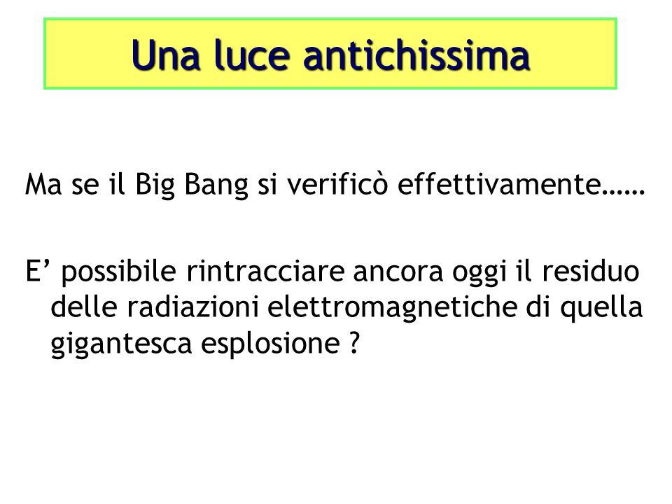 Ma se il Big Bang si verificò effettivamente…… E possibile rintracciare ancora oggi il residuo delle radiazioni elettromagnetiche di quella gigantesca esplosione .