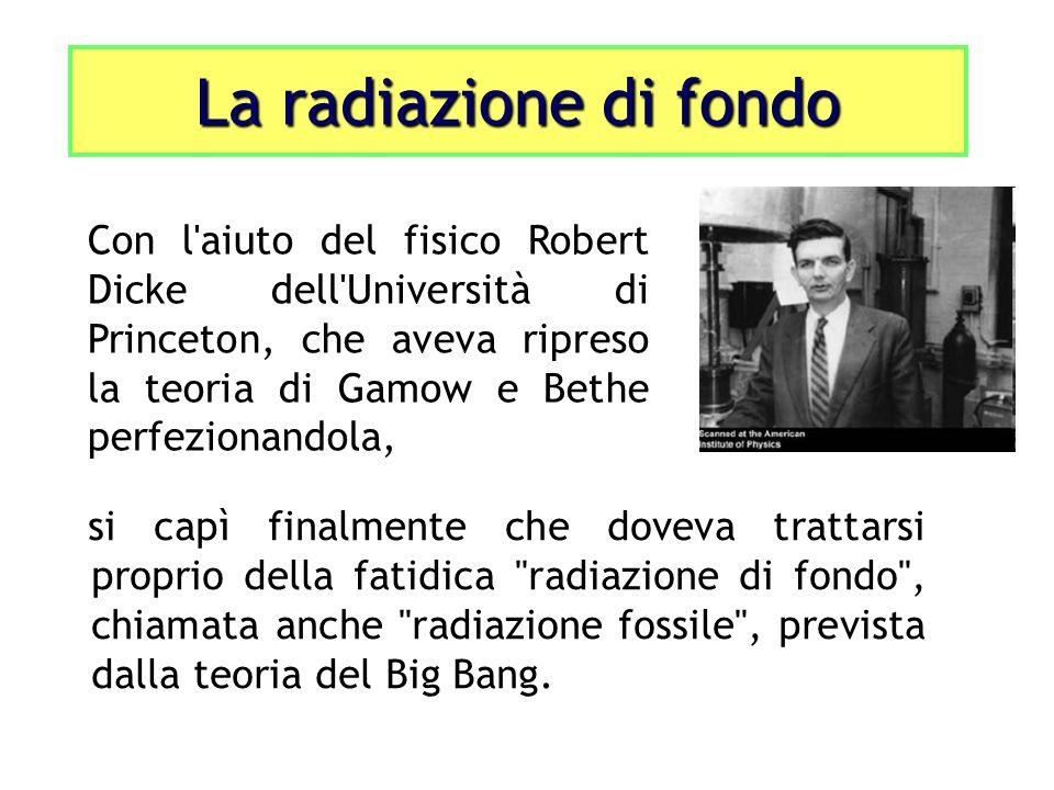 si capì finalmente che doveva trattarsi proprio della fatidica radiazione di fondo , chiamata anche radiazione fossile , prevista dalla teoria del Big Bang.