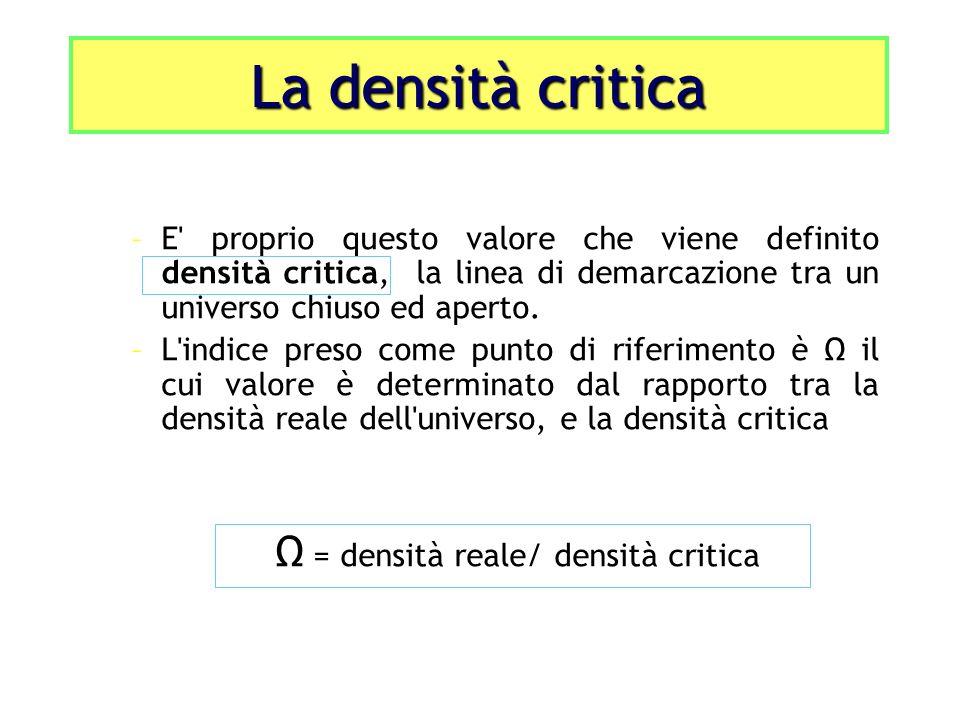 La densità critica –E' proprio questo valore che viene definito densità critica, la linea di demarcazione tra un universo chiuso ed aperto. –L'indice