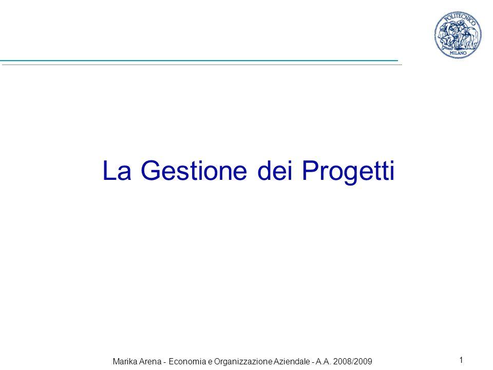 Marika Arena - Economia e Organizzazione Aziendale - A.A. 2008/2009 1 La Gestione dei Progetti