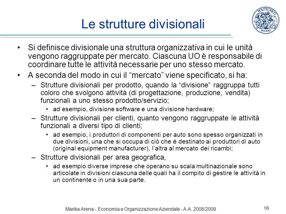 Marika Arena - Economia e Organizzazione Aziendale - A.A. 2008/2009 16 Si definisce divisionale una struttura organizzativa in cui le unità vengono ra