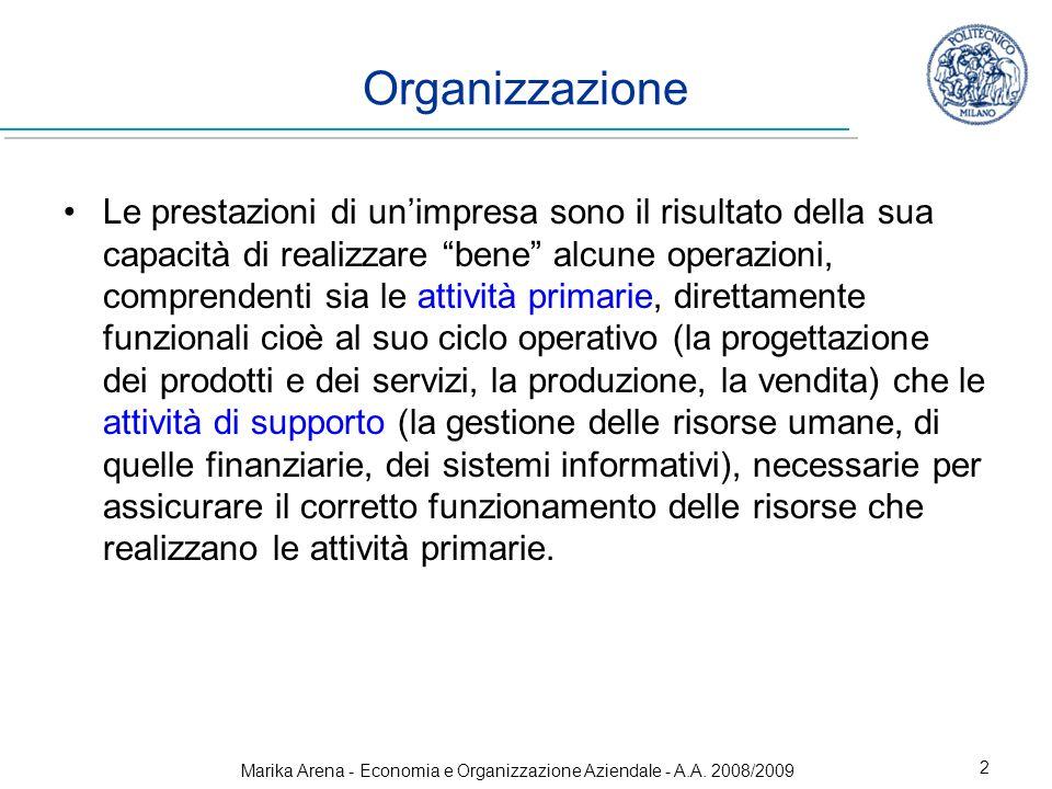 Marika Arena - Economia e Organizzazione Aziendale - A.A. 2008/2009 2 Organizzazione Le prestazioni di unimpresa sono il risultato della sua capacità