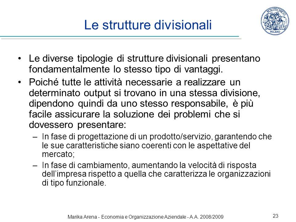 Marika Arena - Economia e Organizzazione Aziendale - A.A. 2008/2009 23 Le diverse tipologie di strutture divisionali presentano fondamentalmente lo st