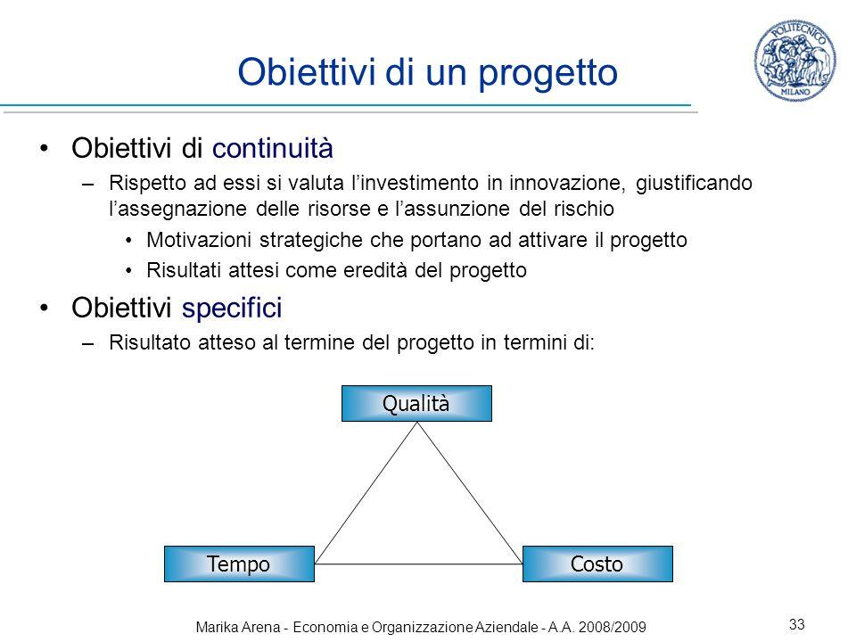 Marika Arena - Economia e Organizzazione Aziendale - A.A. 2008/2009 33 Obiettivi di un progetto Obiettivi di continuità –Rispetto ad essi si valuta li