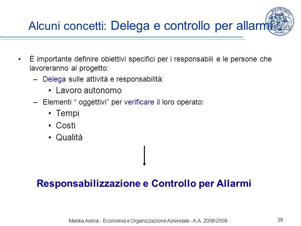 Marika Arena - Economia e Organizzazione Aziendale - A.A. 2008/2009 38 Alcuni concetti: Delega e controllo per allarmi È importante definire obiettivi