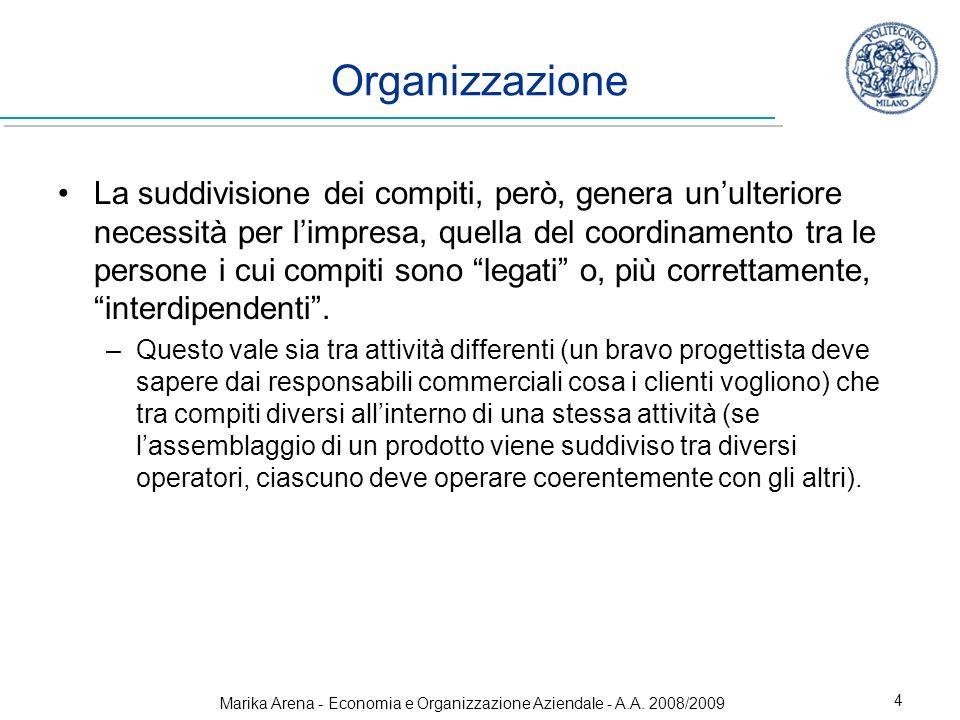 Marika Arena - Economia e Organizzazione Aziendale - A.A. 2008/2009 4 La suddivisione dei compiti, però, genera unulteriore necessità per limpresa, qu