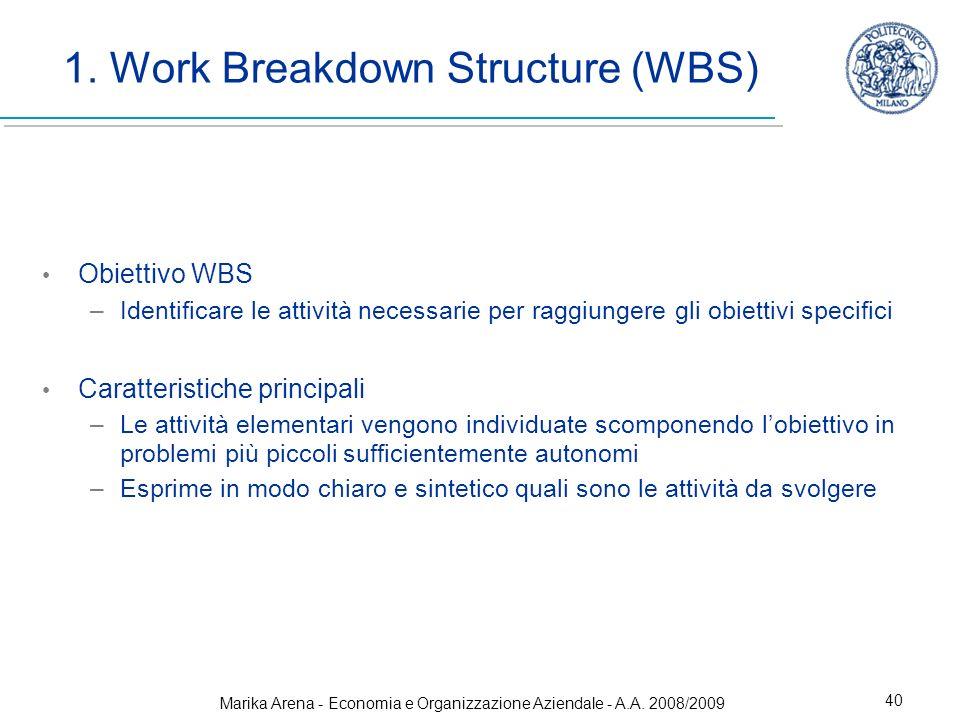 Marika Arena - Economia e Organizzazione Aziendale - A.A. 2008/2009 40 1. Work Breakdown Structure (WBS) Obiettivo WBS –Identificare le attività neces