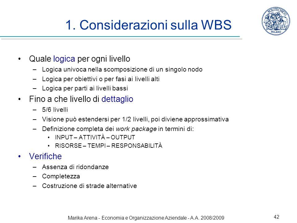 Marika Arena - Economia e Organizzazione Aziendale - A.A. 2008/2009 42 1. Considerazioni sulla WBS Quale logica per ogni livello –Logica univoca nella
