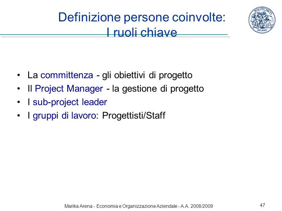 Marika Arena - Economia e Organizzazione Aziendale - A.A. 2008/2009 47 Definizione persone coinvolte: I ruoli chiave La committenza - gli obiettivi di