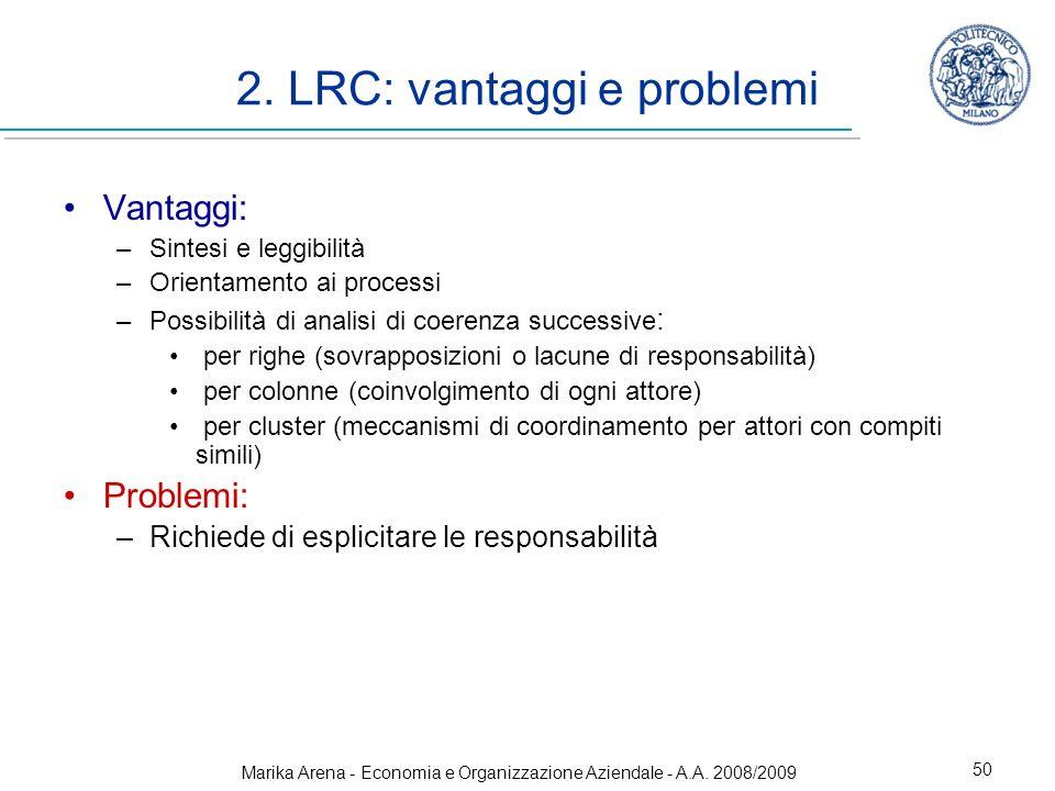 Marika Arena - Economia e Organizzazione Aziendale - A.A. 2008/2009 50 2. LRC: vantaggi e problemi Vantaggi: –Sintesi e leggibilità –Orientamento ai p