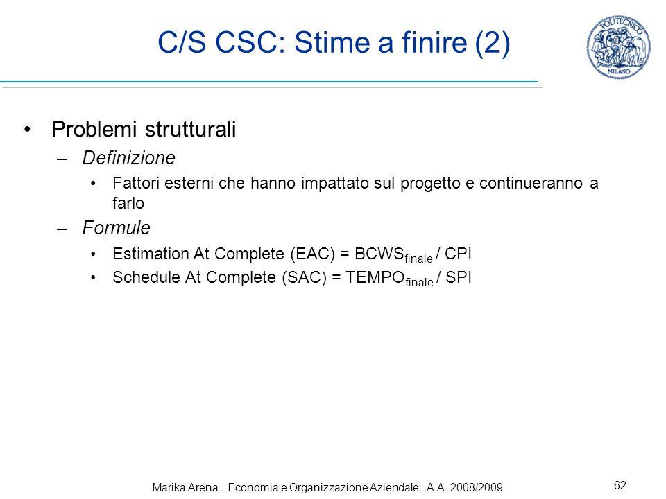 Marika Arena - Economia e Organizzazione Aziendale - A.A. 2008/2009 62 Problemi strutturali –Definizione Fattori esterni che hanno impattato sul proge