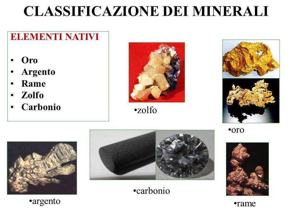 I minerali sono costituiti da un numero elevato di elementi ma, considerando solo la crosta, possiamo dire che per il 98,6% è formata da soli 8 elemen