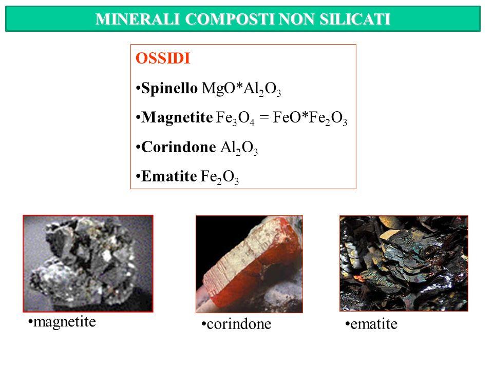 ELEMENTI NATIVI Oro Argento Rame Zolfo Carbonio ramecarbonio argento zolfo oro CLASSIFICAZIONE DEI MINERALI