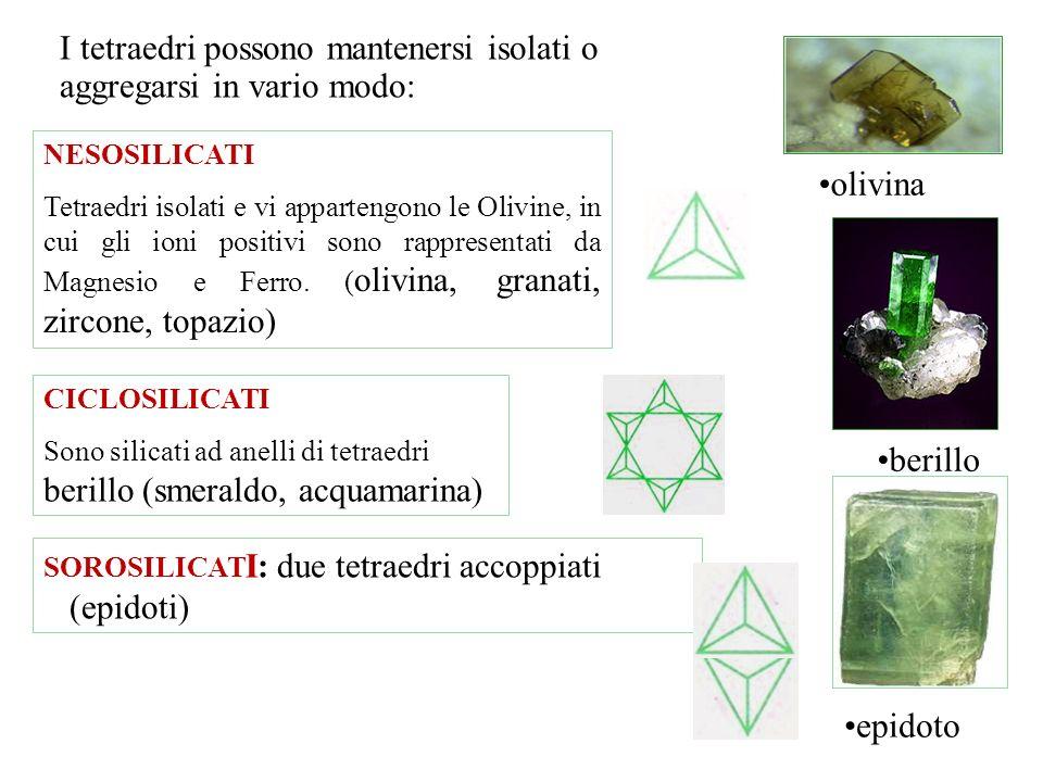 I silicati sono i costituenti presenti con più del 90% della crosta terrestre. Sono composti di Silicio e Ossigeno e tutti, tranne il Quarzo (SiO 2 ),