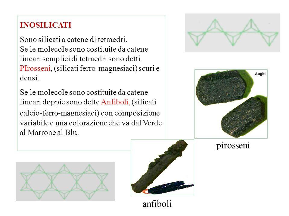 NESOSILICATI Tetraedri isolati e vi appartengono le Olivine, in cui gli ioni positivi sono rappresentati da Magnesio e Ferro. ( olivina, granati, zirc
