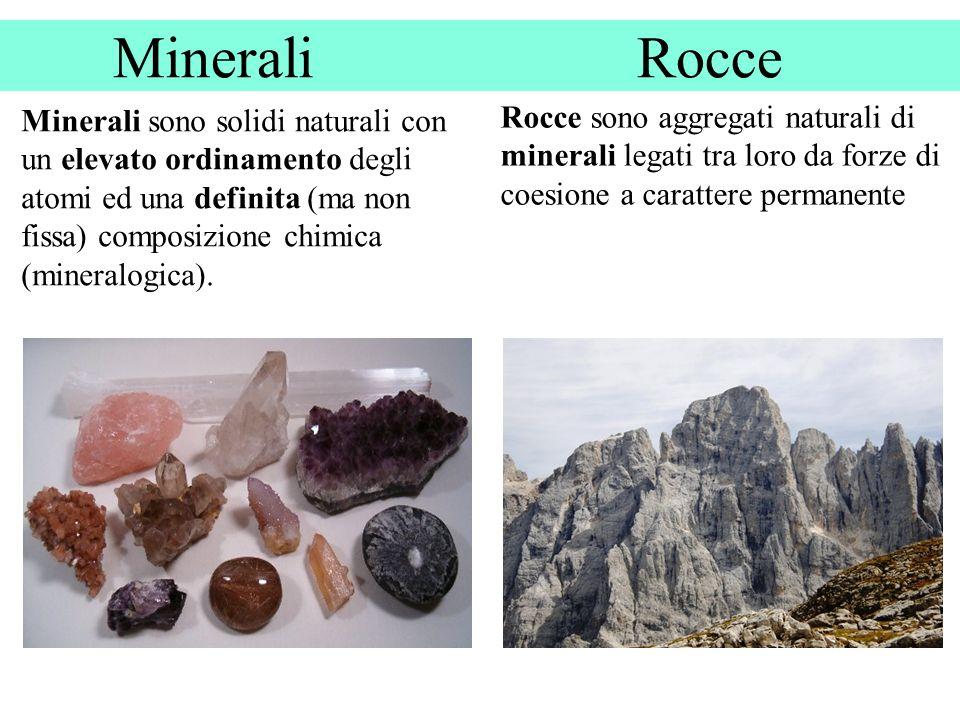 Minerali Rocce Minerali sono solidi naturali con un elevato ordinamento degli atomi ed una definita (ma non fissa) composizione chimica (mineralogica).