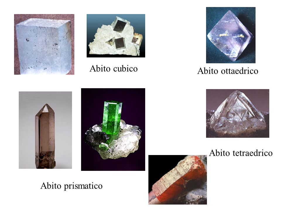 Composti sialici Composti femici Quarzo SiO 2 Miche : Biotite, Muscovite, altre Miche Silicati complessi di Fe, Mg, Al, K Feldspati comprendono Ortoclasio, Plagioclasi, miscele di Albite e di Anortite KAlSi 3 O 8 NaAlSi 3 O 8 CaAl 2 Si 2 O 8 Pirosseni (rombici e monoclini) Silicati di Fe, Al, Mg, Ca, Na Anfiboli (rombici e monoclini) Silicati di Ca, Fe, Mg, Al, e gruppi OH Feldspatoidi comprendono Leucite e Nefelina KAlSi 2 O 6 NaAlSiO 4 Olivine Miscele di Mg 2 SiO 4 e di Fe 2 SiO 4