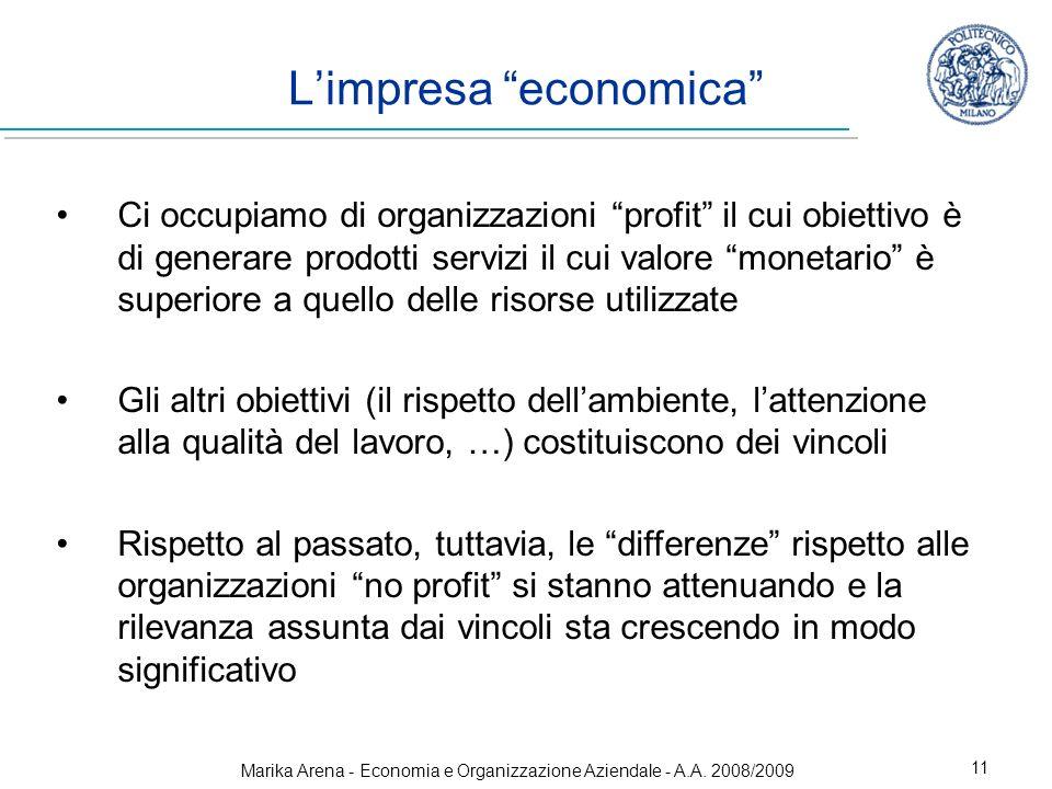 Marika Arena - Economia e Organizzazione Aziendale - A.A. 2008/2009 11 Limpresa economica Ci occupiamo di organizzazioni profit il cui obiettivo è di