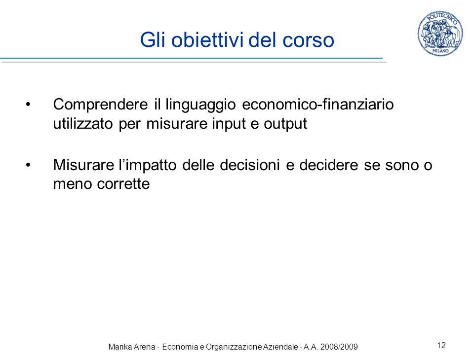Marika Arena - Economia e Organizzazione Aziendale - A.A. 2008/2009 12 Gli obiettivi del corso Comprendere il linguaggio economico-finanziario utilizz