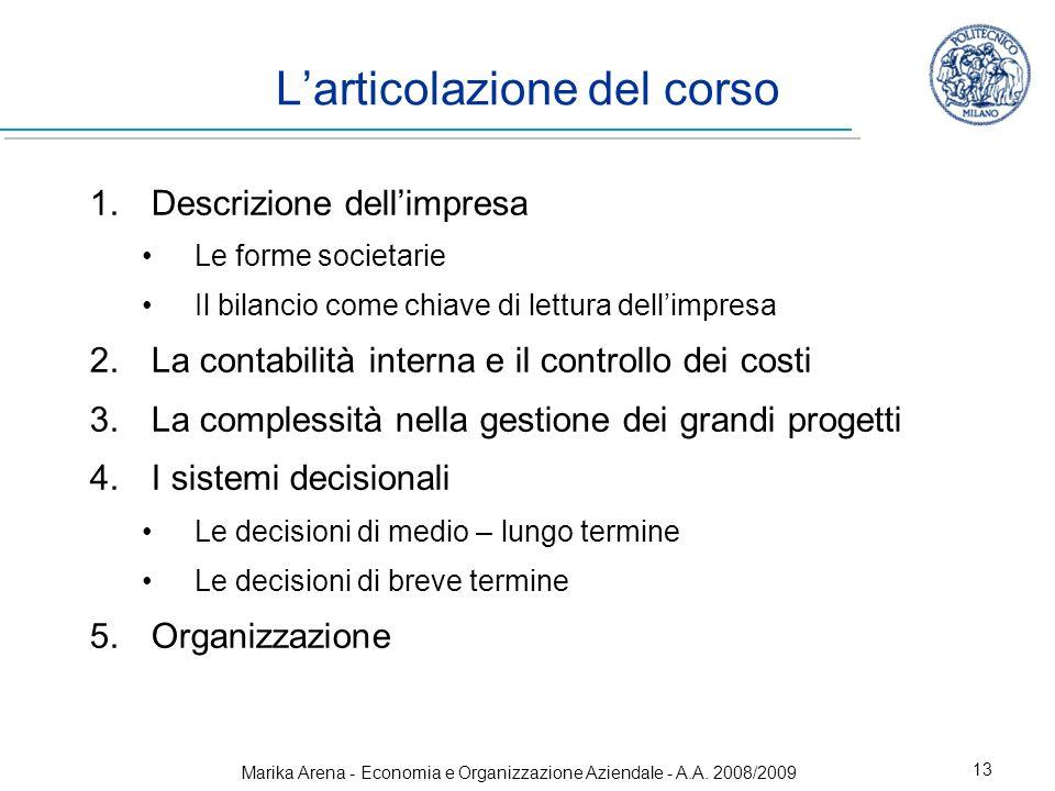 Marika Arena - Economia e Organizzazione Aziendale - A.A. 2008/2009 13 Larticolazione del corso 1.Descrizione dellimpresa Le forme societarie Il bilan