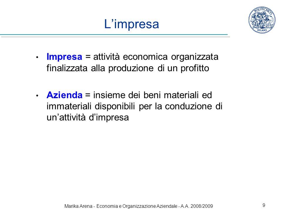 Marika Arena - Economia e Organizzazione Aziendale - A.A. 2008/2009 9 Limpresa Impresa = attività economica organizzata finalizzata alla produzione di