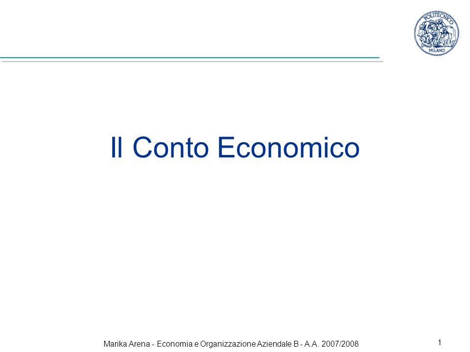Marika Arena - Economia e Organizzazione Aziendale B - A.A. 2007/2008 1 Il Conto Economico