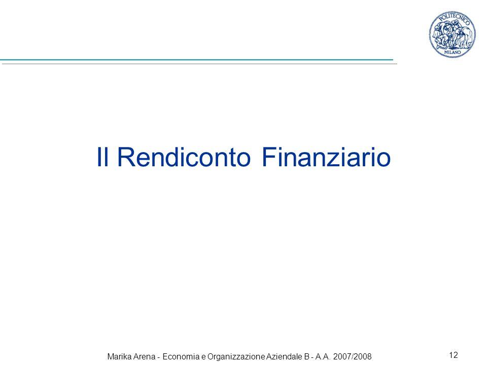 Marika Arena - Economia e Organizzazione Aziendale B - A.A. 2007/2008 12 Il Rendiconto Finanziario