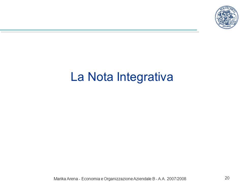 Marika Arena - Economia e Organizzazione Aziendale B - A.A. 2007/2008 20 La Nota Integrativa