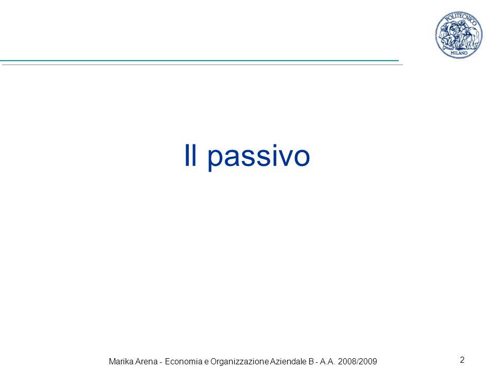 Marika Arena - Economia e Organizzazione Aziendale B - A.A. 2008/2009 2 Il passivo
