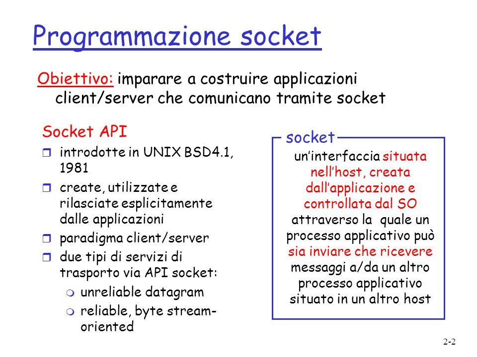 2-2 Programmazione socket Socket API r introdotte in UNIX BSD4.1, 1981 r create, utilizzate e rilasciate esplicitamente dalle applicazioni r paradigma