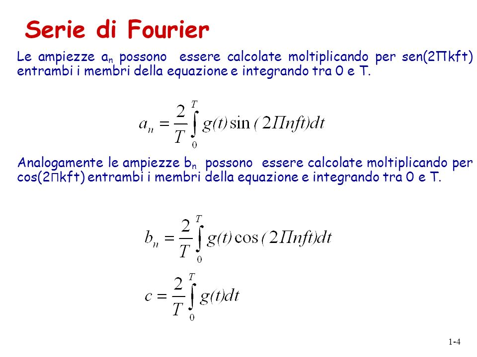 1-4 Le ampiezze a n possono essere calcolate moltiplicando per sen(2Πkft) entrambi i membri della equazione e integrando tra 0 e T. Analogamente le am