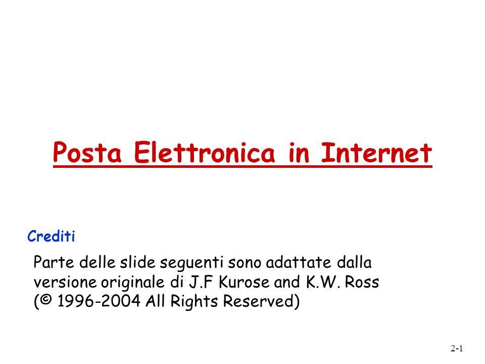 2-1 Posta Elettronica in Internet Crediti Parte delle slide seguenti sono adattate dalla versione originale di J.F Kurose and K.W. Ross (© 1996-2004 A