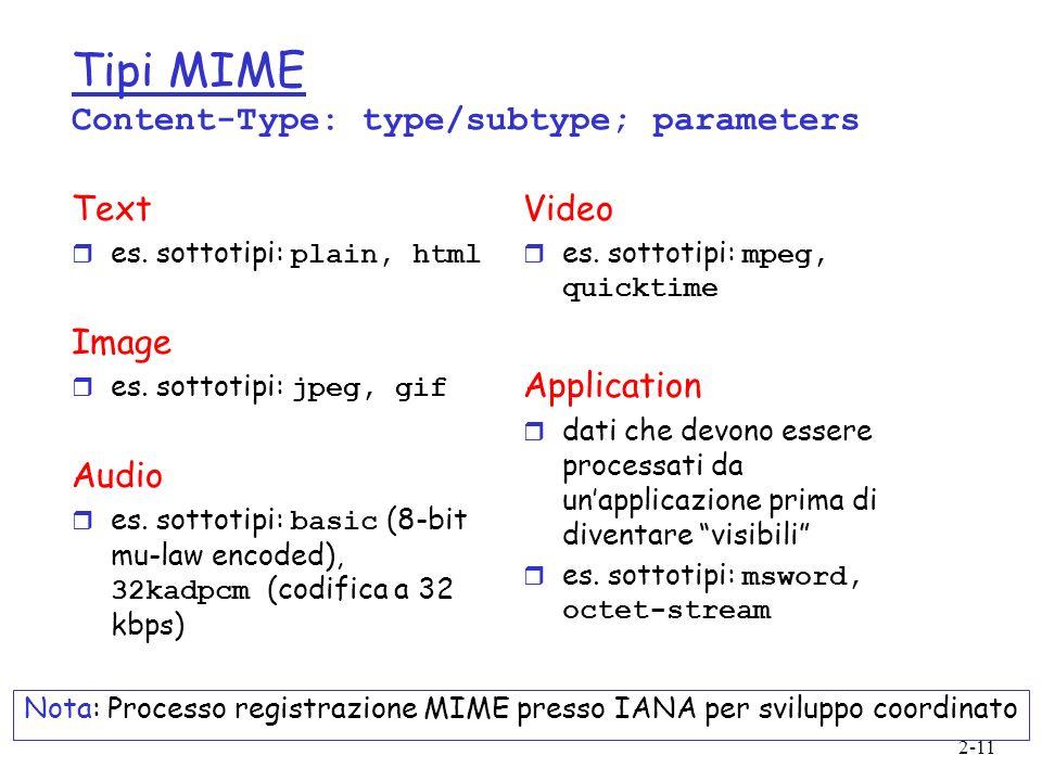 2-11 Tipi MIME Content-Type: type/subtype; parameters Text es. sottotipi: plain, html Image es. sottotipi: jpeg, gif Audio es. sottotipi: basic (8-bit