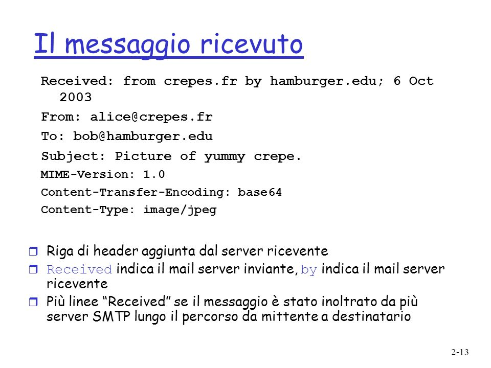 2-13 Il messaggio ricevuto r Riga di header aggiunta dal server ricevente Received indica il mail server inviante, by indica il mail server ricevente