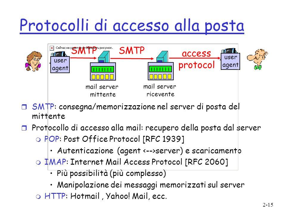 2-15 Protocolli di accesso alla posta r SMTP: consegna/memorizzazione nel server di posta del mittente r Protocollo di accesso alla mail: recupero del