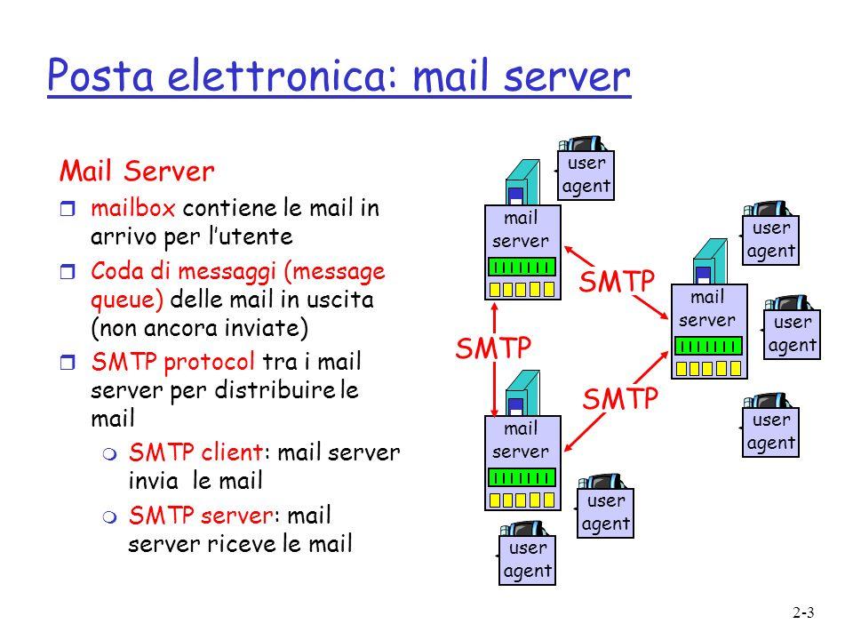 2-4 Posta elettronica: SMTP [RFC 821] r Usa tcp per il trasferimento affidabile dei messagi da client a server sulla porta 25 r Trasferimento diretto: da server a server, non si usano server intermedi di posta r Tre fasi m Handshaking (saluto) m Trasferimento di uno o più messaggi (connessione permanente) m Chiusura r Interazione mediante comandi/risposte m Comando: testo ASCII m Risposta: codice di stato e frase r Attenzione: I messaggi devono essere comunque riportati in formato ASCII a 7 bit, anche i dati multimediali