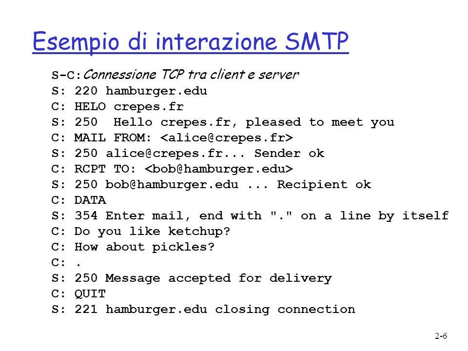 2-17 Protocollo POP3 r Scarica ed elimina (download and delete) 1.