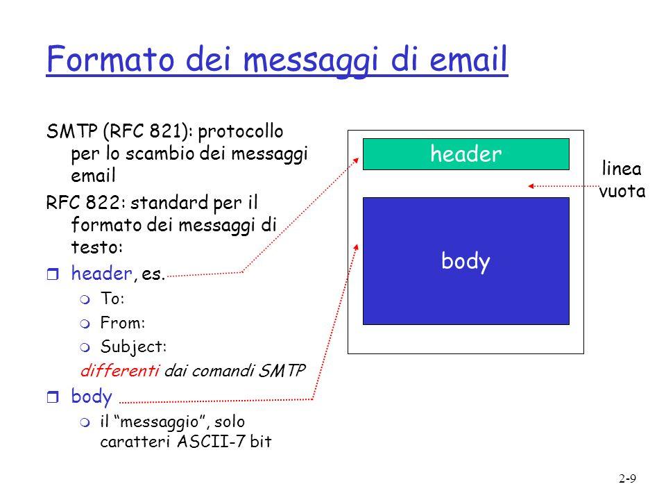 2-9 Formato dei messaggi di email SMTP (RFC 821): protocollo per lo scambio dei messaggi email RFC 822: standard per il formato dei messaggi di testo:
