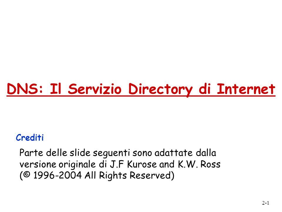 2-1 DNS: Il Servizio Directory di Internet Crediti Parte delle slide seguenti sono adattate dalla versione originale di J.F Kurose and K.W. Ross (© 19